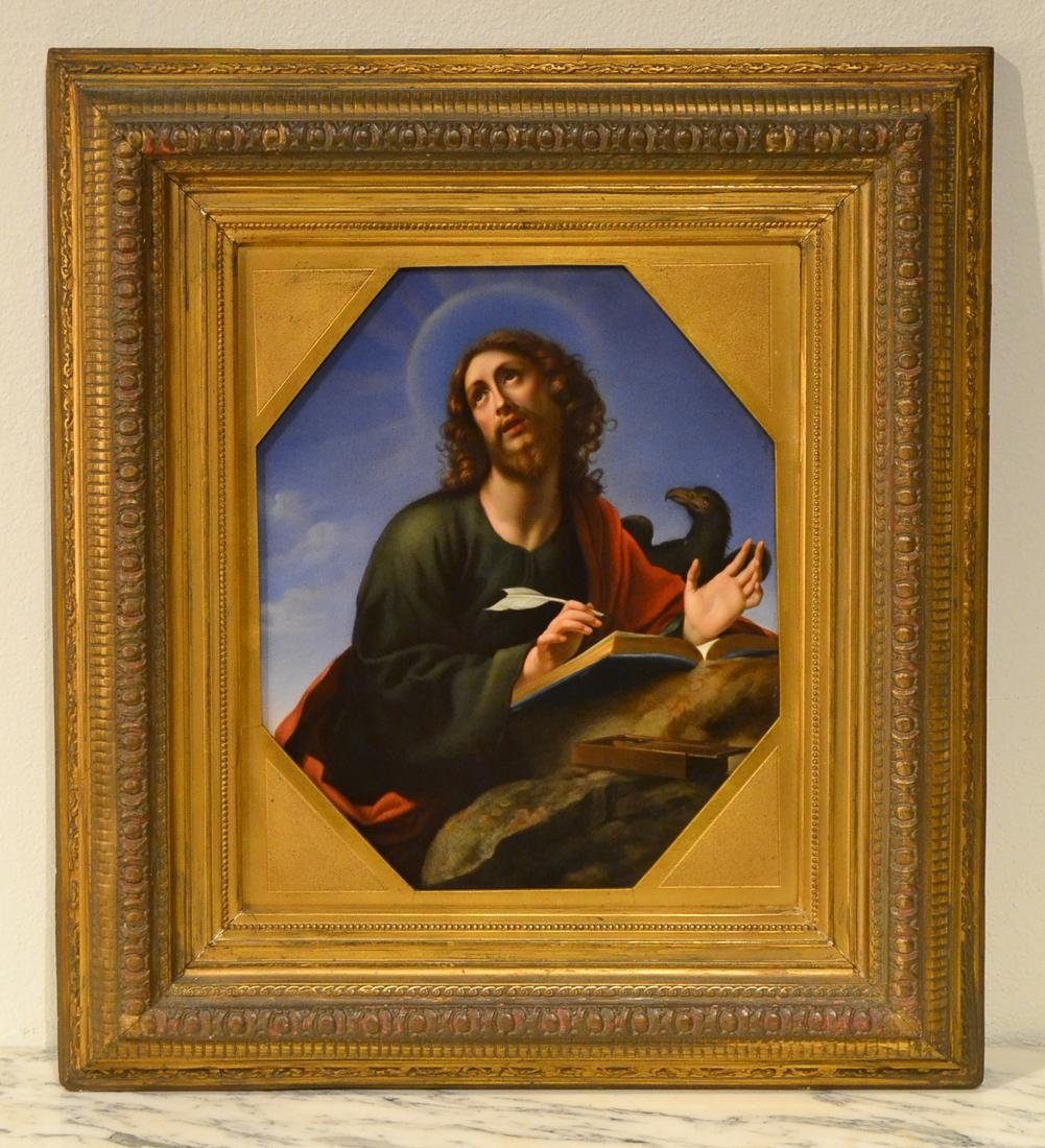 St Luke, KPM Porcelain Plaque.