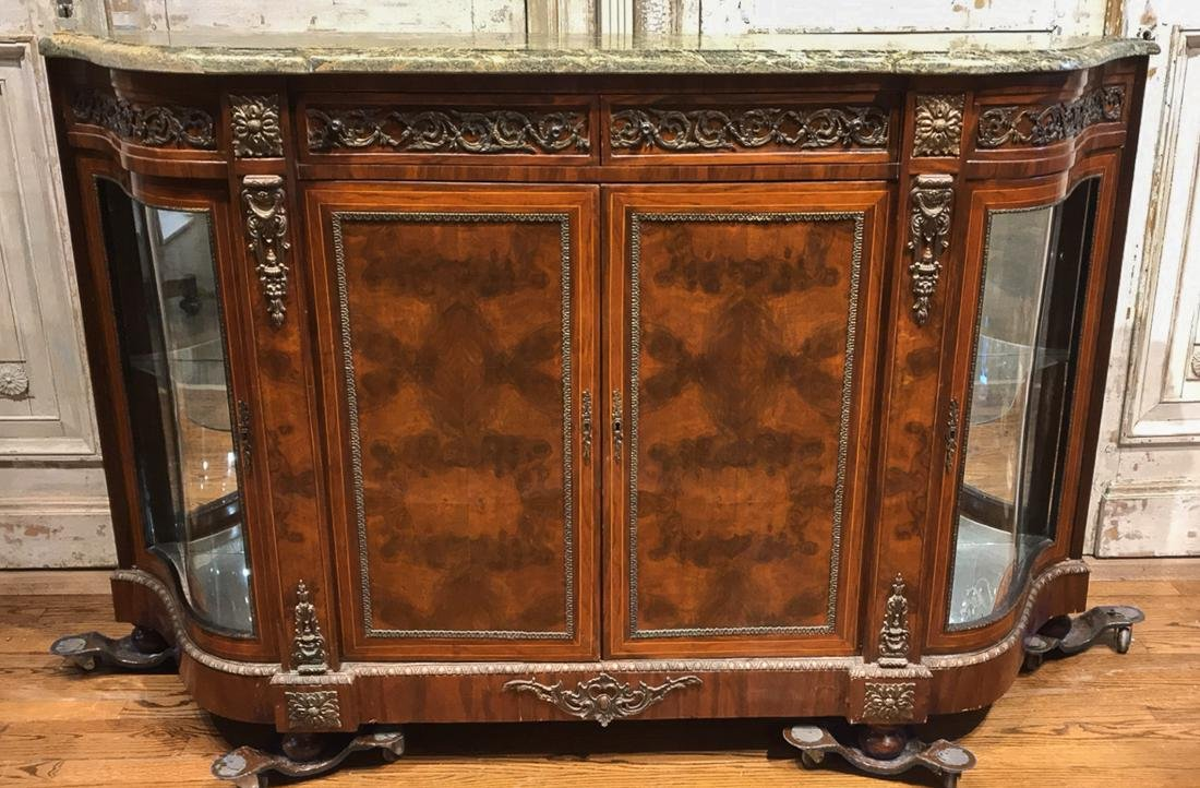 French Style Burl Wood Credenza.