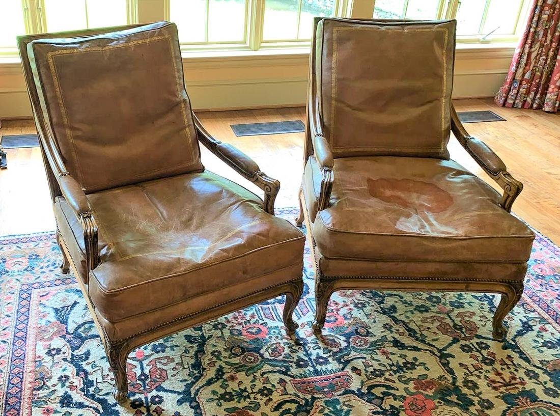 Pair Of French Walnut Armchairs.
