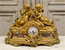 19th C French Bronze Mantle Clock