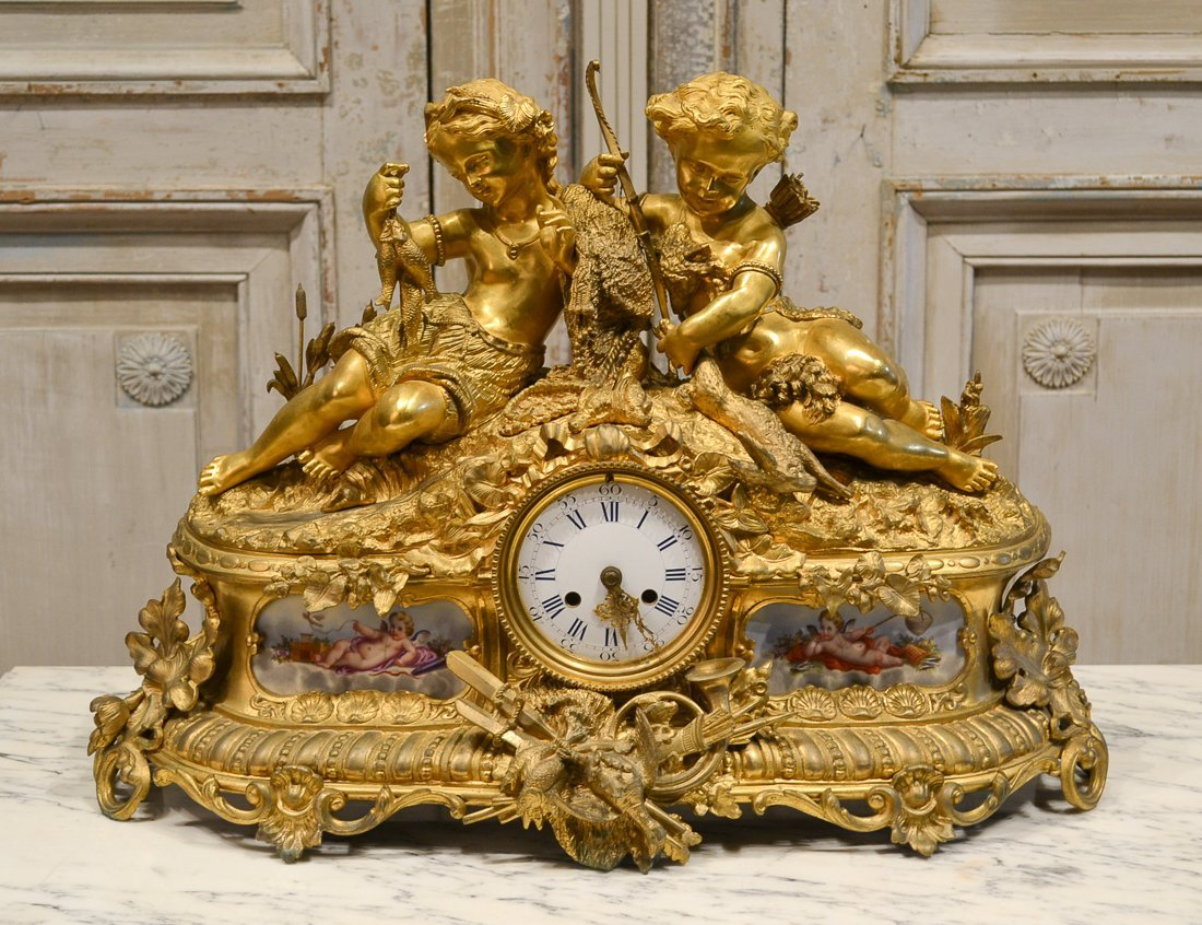 19th C. French Bronze Mantle Clock.