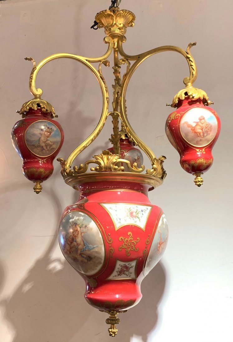 Sevres and dore chandelier