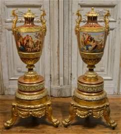 Pair Of Royal Vienna Urns, C. 1880.