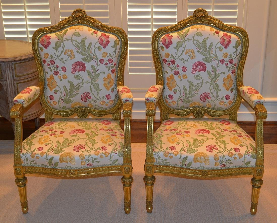 Pair Of French Louis XVI Fauteuils.