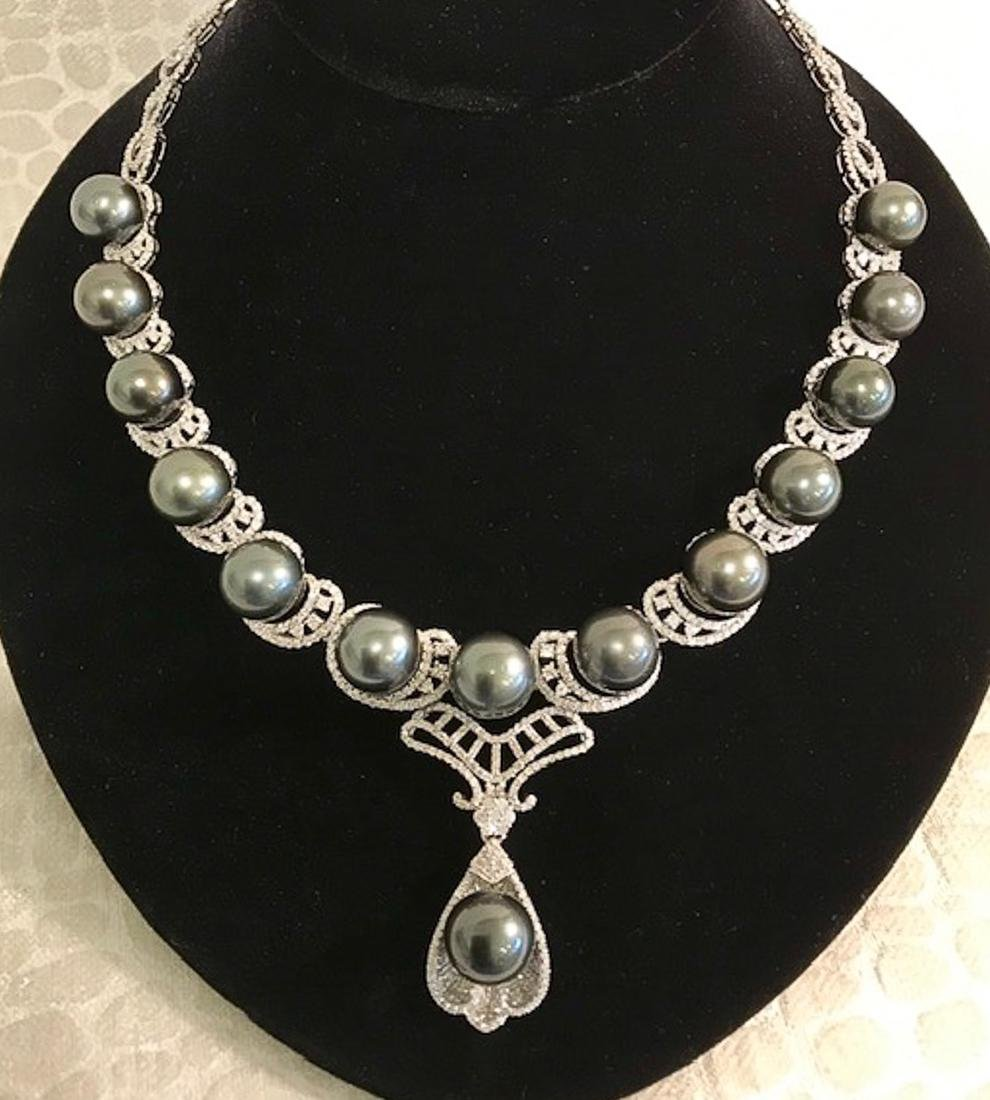 Gorgeous Tahitian Pearl And Diamond Necklace
