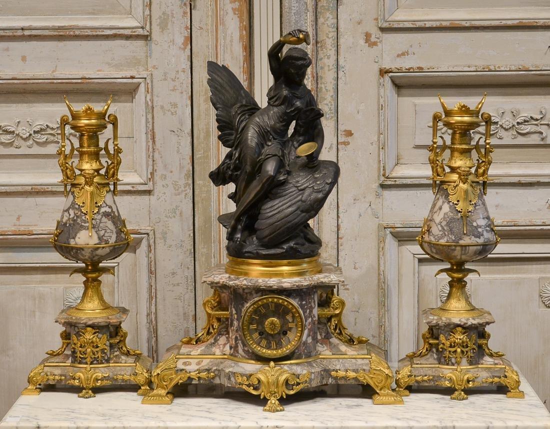 C. Buhot, French Clock Garniture.