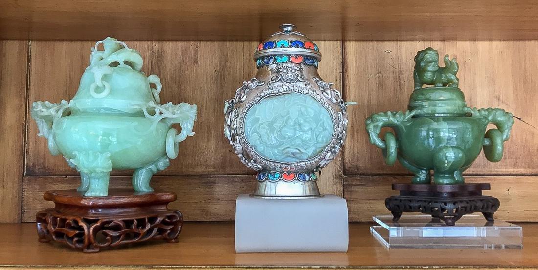 3 Piece Jade & Silvered Copper.