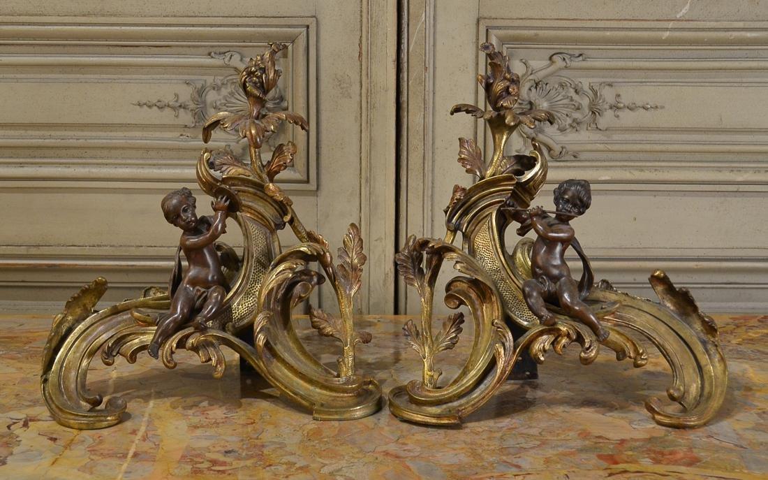 Pair Of French Bronze Chenet, C. 1870.