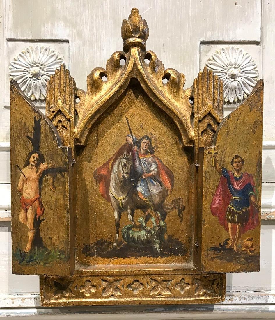 Antique 3-panel Greek Triptych.