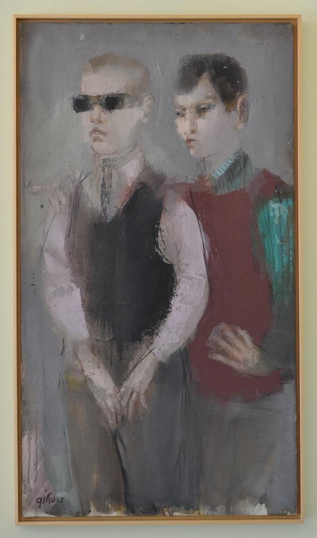 Ruth Gikow Oil On Canvas Painting Of Two Men