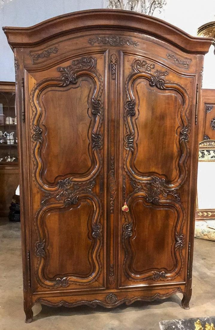 French Carved Walnut Armoire