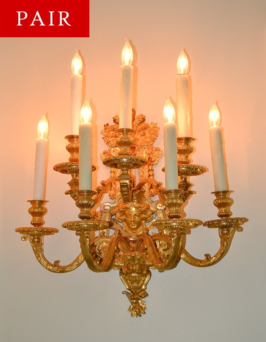 Pair Of French Gilt Bronze Sconce