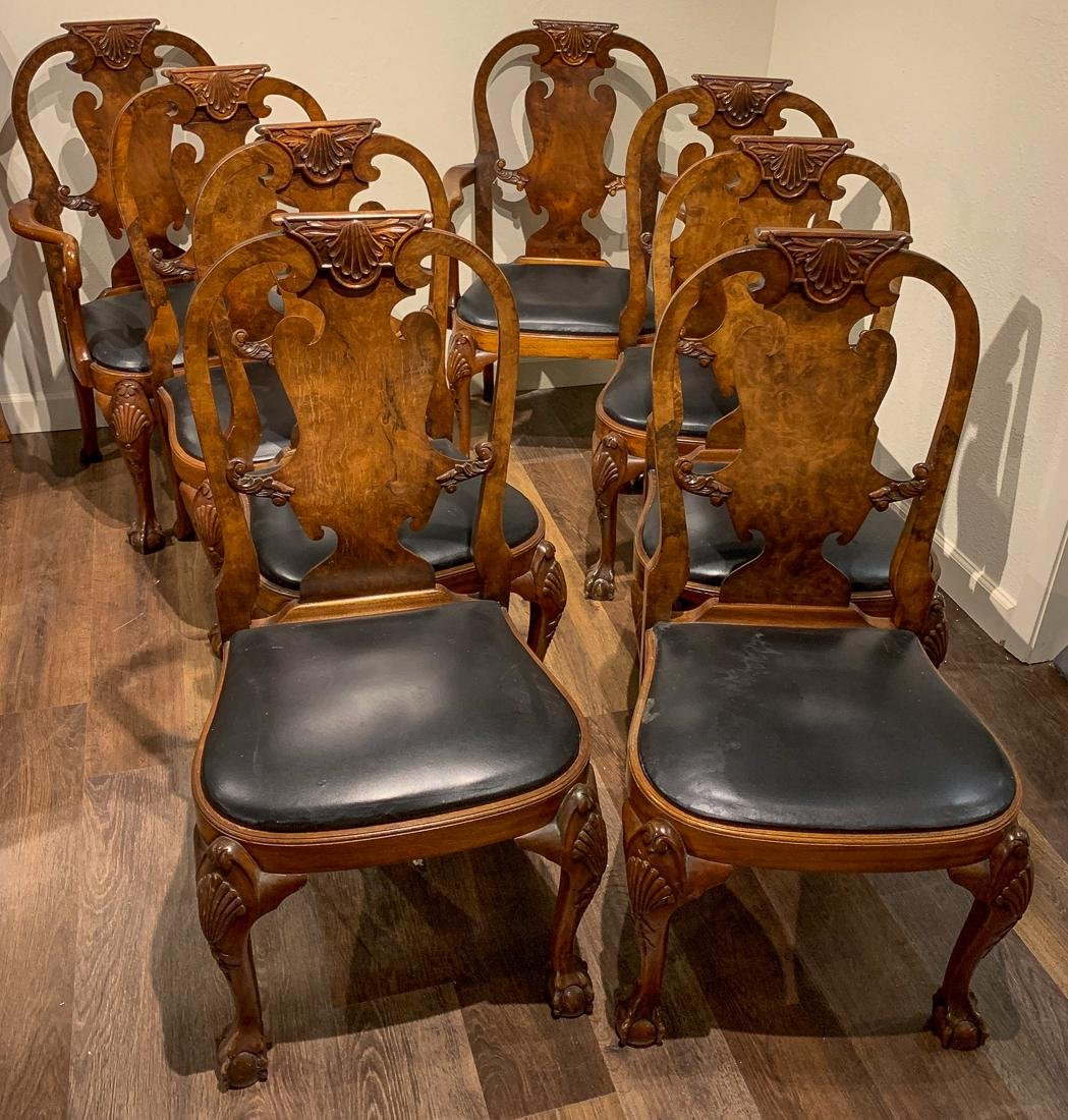 10 English Queen Anne Dining Chairs.
