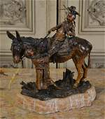Carl Kauba Bronze, Mule & Children.