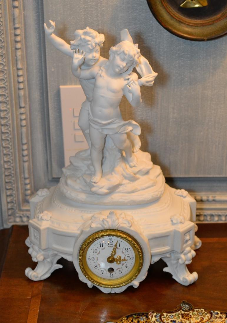 French Bisque Figurative Clock.