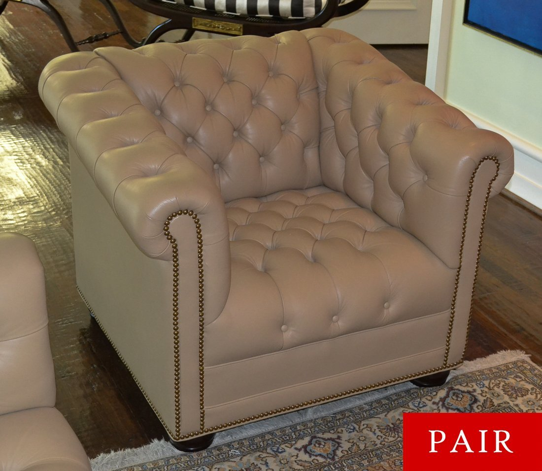 Pair Of English Chesterfield Chairs.