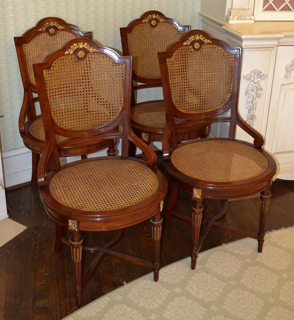 Set Of 4 French Cane Chairs.