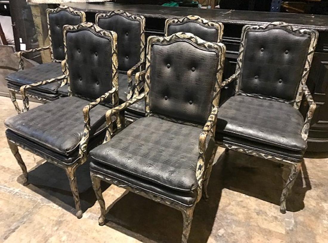 6 Faux Crocodile Dining Chairs.