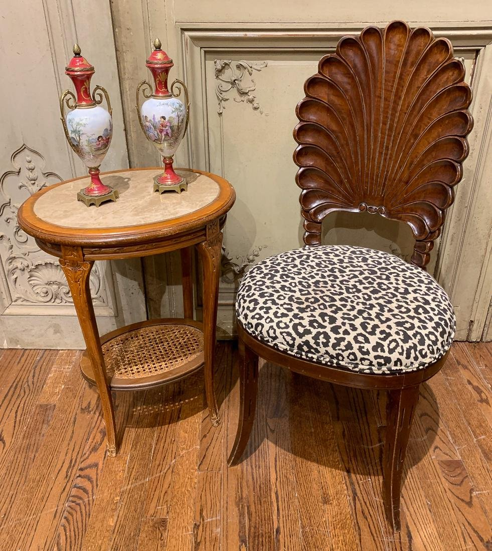 Side Chair, Two Vases, And Side Table.