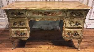 Vintage Italian Painted Desk, Venetian Manner
