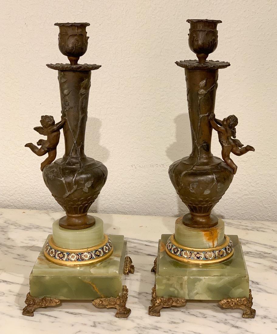 Pair Of Onyx & Bronze Candlesticks.