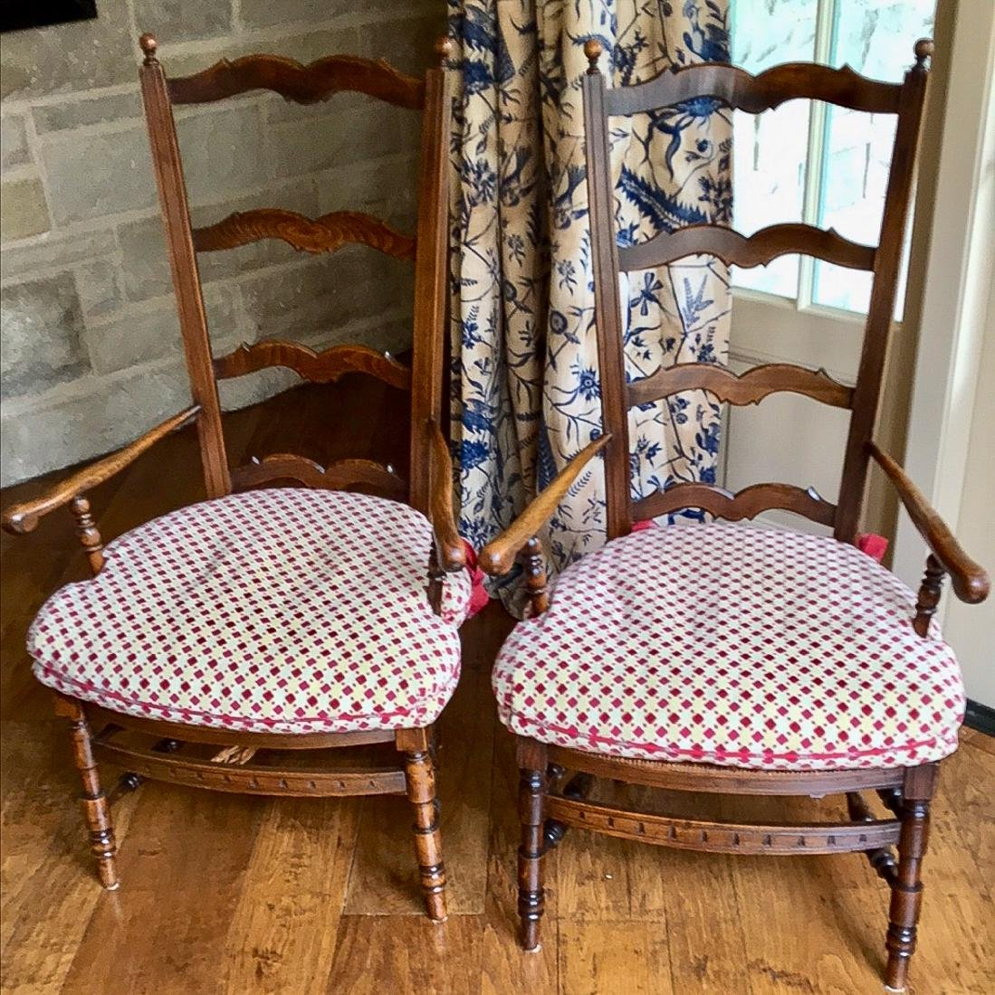 Pair French Ladder-Back Armchairs.