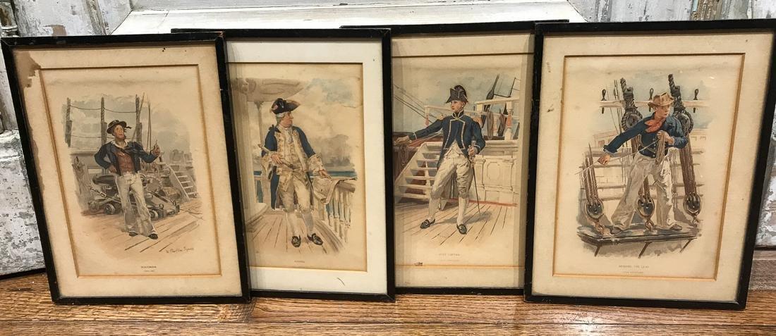4 English Royal Navy Prints.