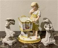 3 Pc Porcelain  Bisque Figures