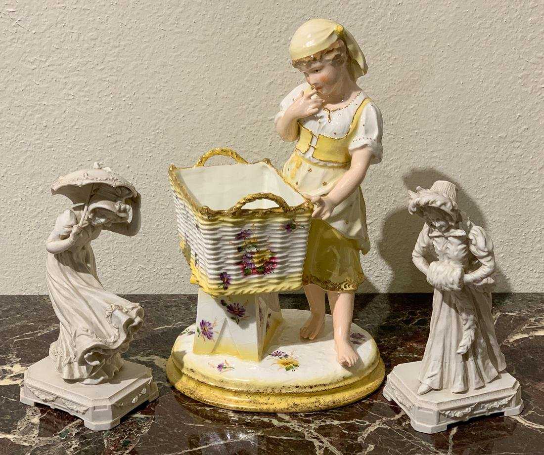 3 Pc. Porcelain & Bisque Figures.