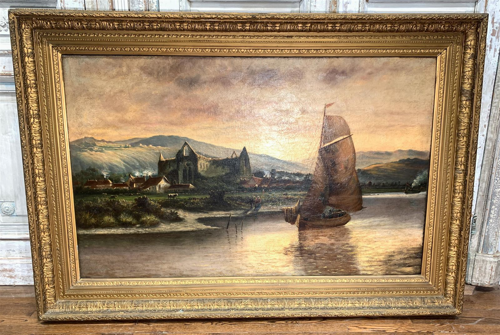 Large Continental Oil On Canvas, Sailing Ship