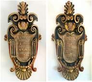 Rare Museum Quality Pair Of Italian Crests