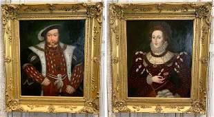 Pair 19th C. Portraits Of Henri VIII & Queen Elizabeth