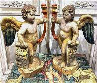 Pair Of Early Spanish Carved Wood Angels