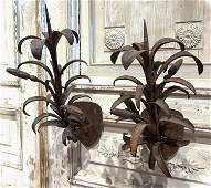 Early Pair Of Italian Forged Iron Sconce