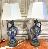 Pair Of German Mettlach Style Salt-glazed Lamps