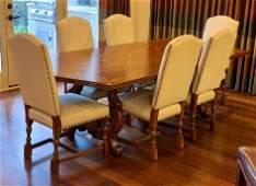 Set Of 6 Custom French Walnut Dining Chairs