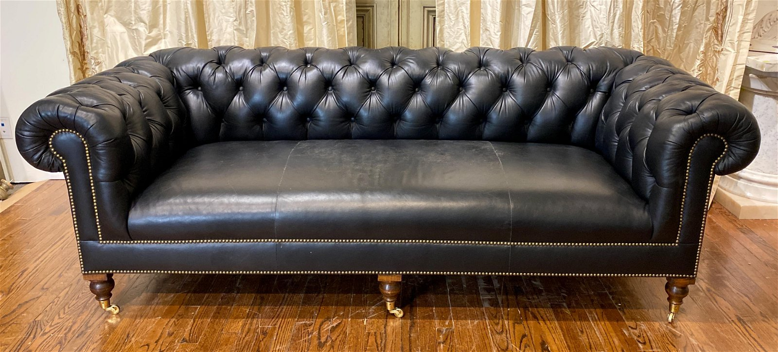 Black Leather Chesterfield Sofa