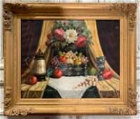 Oil On Canvas Still Life, 20 Th C.