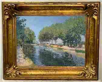 Signed French Antique Oil On Canvas, Elie Pavil