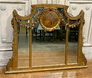 19th Century French Over Mantle Mirror
