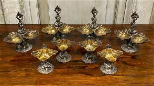 8 Fine French Parcel Gilt Silver Salts, Signed