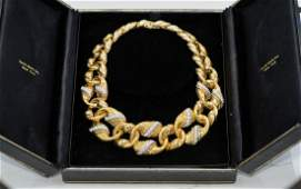 David Webb Gold And Diamond Link Necklace