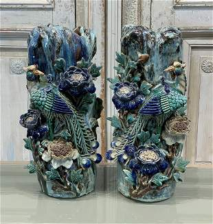Wonderful Pair Of Antique Majolica Vases