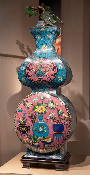 Unique Large Cloisonne Double Gourd Vase