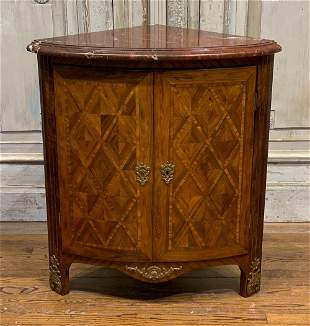 French Parquetry Inlaid Corner Cabinet
