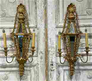 Pair Of Italian Giltwood And Mirrored Sconce