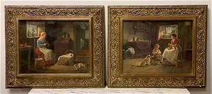 Signed Pair Of Oils On Canvas, A. Austen