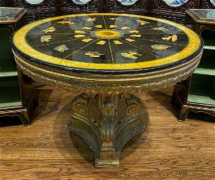 Early Zodiac Center Table With Scagliola Top
