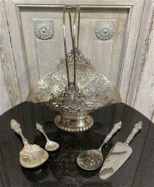 Silver Reticulated Basket And Seis Fleurs Spoons