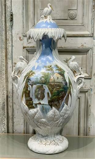 Monumental English Painted Stoneware Urn